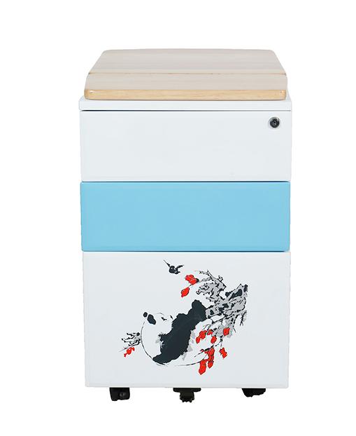 定制办公家具移动式印花金属文件柜