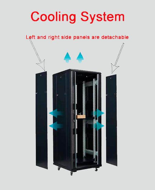 2m高品质黑色spcc室内机架服务器网络柜